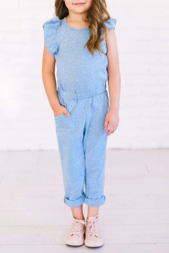 Sky Blue Little Girls Ruffled Shoulder Keyhole Back Jumpsuit with Pockets TZ64004-4