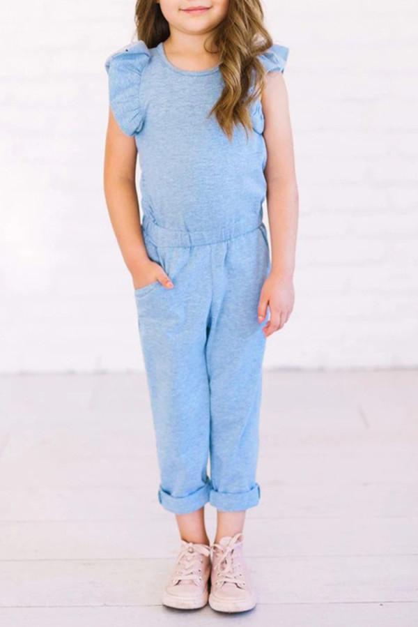 Sky Blue Little Girls Ruffled Shoulder Keyhole Back Jumpsuit with Pockets TZ64004-4