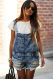Blue Denim Overall Shorts LC781980-5