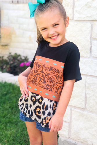 Brown Print Leopard Colorblock Girls' T-shirt TZ25207-2