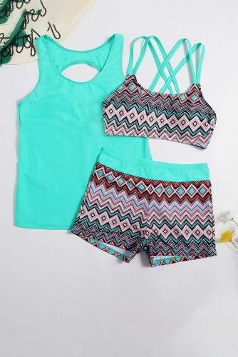 Blue 3pcs Geometric Print Bikini Set LC412452-4
