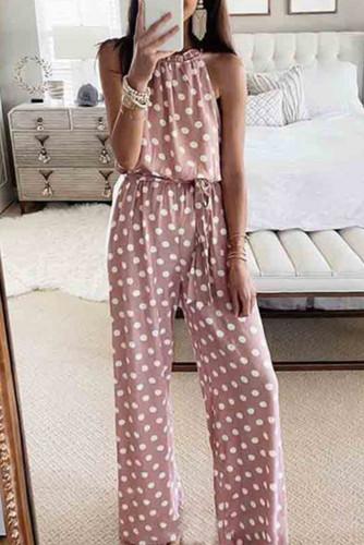 Pink Polka Dot Chiffon Overall Jumpsuit LC641522-10