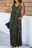 Green Leopard Sleeveless Cut-out Pocketed Maxi Dress LC613482-9