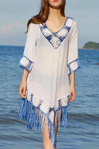 White Floral Crochet V Neck Tasseled Hem Beach Dress LC42962-1