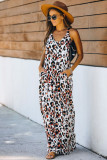 Leopard Sleeveless Cut-out Pocketed Maxi Dress LC613482-20