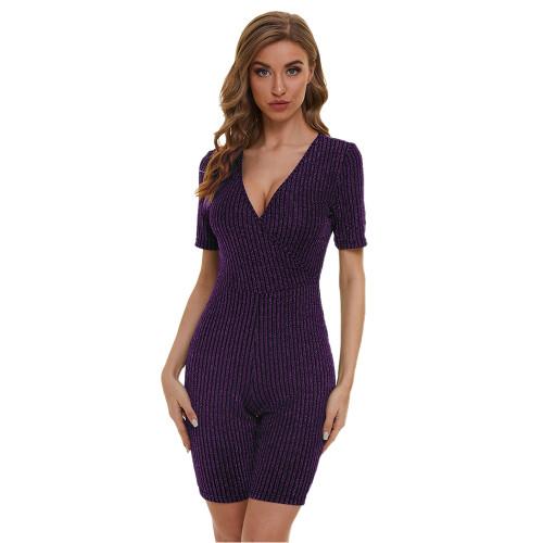 Purple V Neck Short Sleeve Yoga Romper TQK550228-8