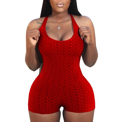 Red Jacquard Bubble Sleeveless Yoga Romper TQK550226-3