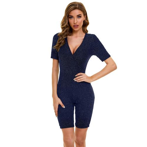 Blue V Neck Short Sleeve Yoga Romper TQK550228-5