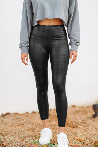 Black Snakeskin PU Leggings LC76269-2