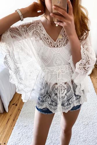 White Kimono Sleeve V Neck Lace Beach Dress LC2516284-1