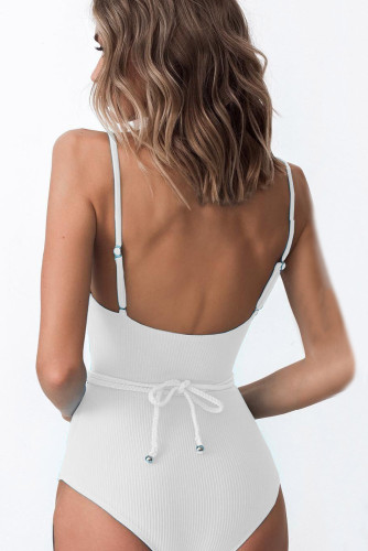 White One-piece Swimsuit With Belt LC441965-1