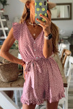 Dotted Print V Neck Romper with Waist Tie LC641627-3