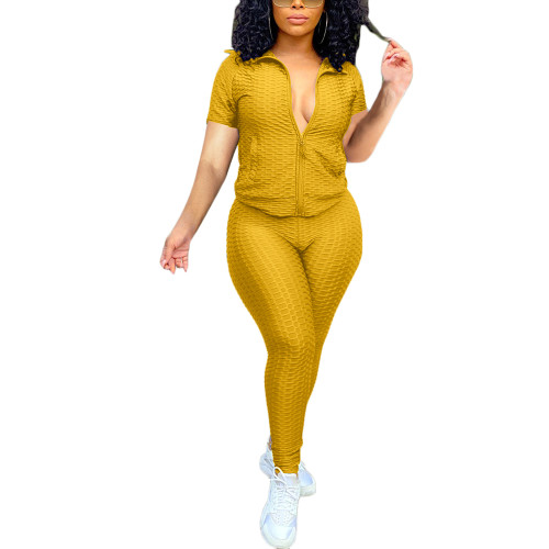 Yellow Jacquard Bubble Short Sleeve Jacket with Pant Sports Set TQK710317-7
