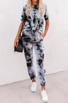Gray Tie-dye Tee and Sweatpants Sports Wear LC621567-11