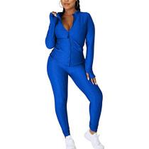 Blue Jacquard Bubble Long Sleeve Jacket with Pant Sports Set TQK710316-5