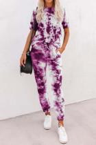Purple Tie-dye Tee and Sweatpants Sports Wear LC621567-8