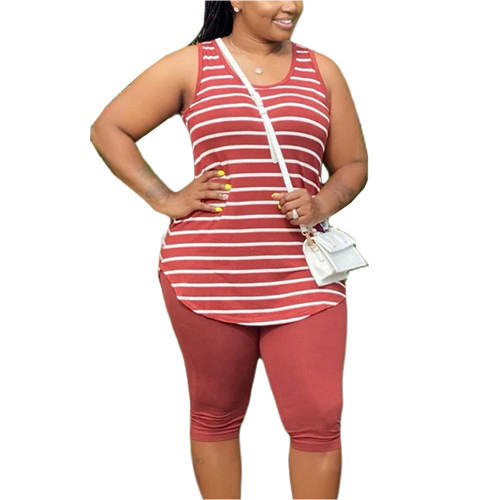 Red Plus Size Stripes Tank with Shorts Set TQK710320-3