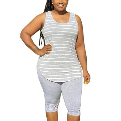 Light Gray Plus Size Stripes Tank with Shorts Set TQK710320-25