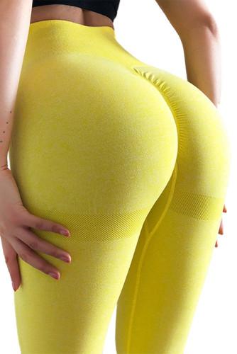 Yellow Seamless Gym Fitness Tummy Control Leggings LC263777-7