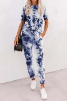 Blue Tie-dye Tee and Sweatpants Sports Wear LC621567-5