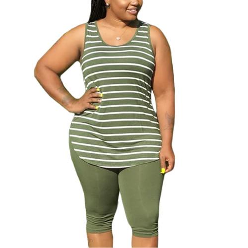 Army Green Plus Size Stripes Tank with Shorts Set TQK710320-27