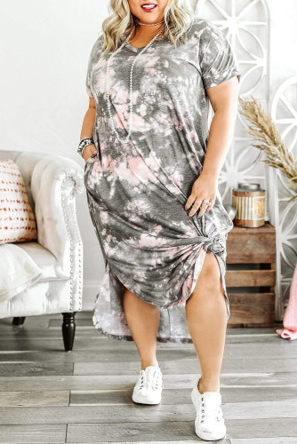 Gray Tie-dye Print Plus Size Maxi Dress with Slits LC613960-11
