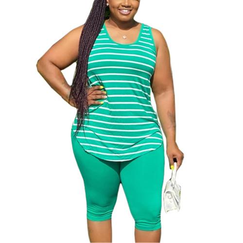 Green Plus Size Stripes Tank with Shorts Set TQK710320-9