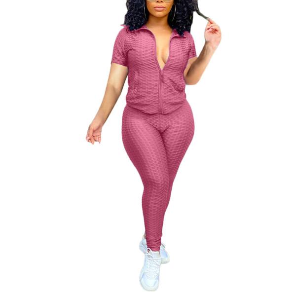 Pink Mauve Jacquard Bubble Short Sleeve Jacket with Pant Sports Set TQK710317-59