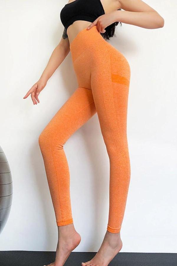 Orange Seamless Gym Fitness Tummy Control Leggings LC263777-14
