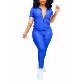 Blue Jacquard Bubble Short Sleeve Jacket with Pant Sports Set TQK710317-5