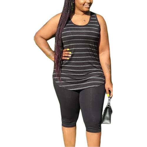 Black Plus Size Stripes Tank with Shorts Set TQK710320-2