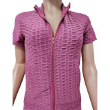 Pink Mauve Jacquard Bubble Short Sleeve Jacket with Pant Sports Set TQK710317-59