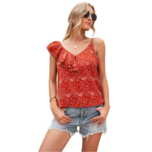 Rust Red Polka Dot Asymmetrical Ruffles Tank TQK250132-33