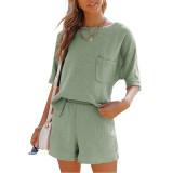 Pea Green Pocket Tops with Shorts Cotton Loungewear Set TQK710322-64