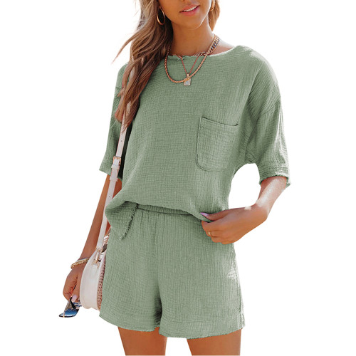 Pea Green Pocket Tops with Shorts Cotton Loungewear Set TQK710322-64