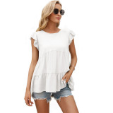 White Loose Style Ruffled Babydoll Top TQK210687-1
