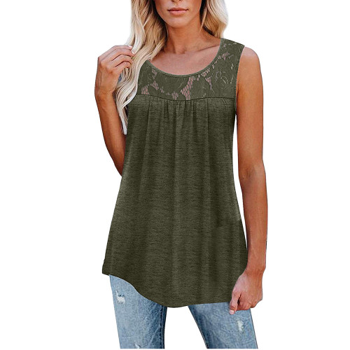Army Green Cotton Blend Lace Neck Tank Top TQK250133-27
