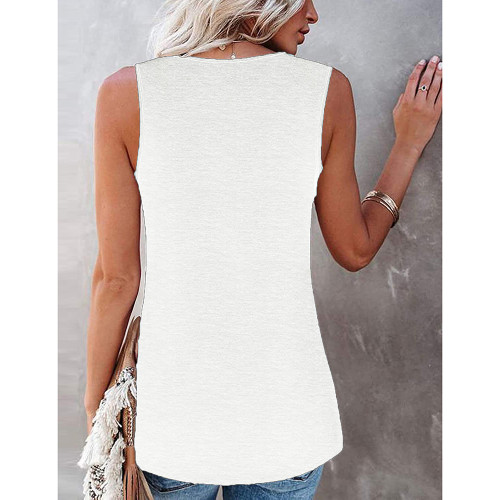 White Cotton Blend Lace Neck Tank Top TQK250133-1