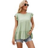 Light Green Loose Style Ruffled Babydoll Top TQK210687-28