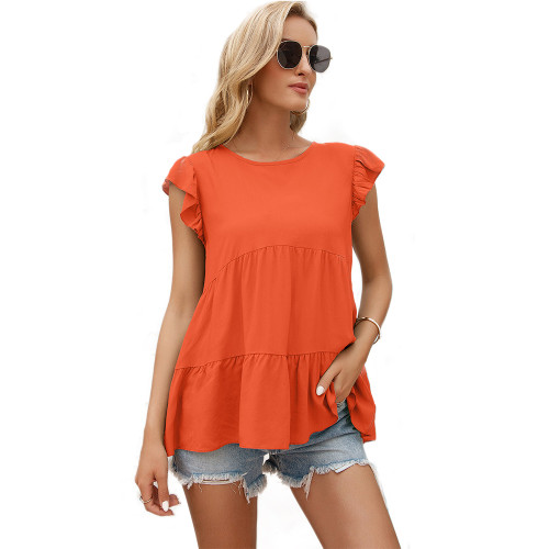 Orange Loose Style Ruffled Babydoll Top TQK210687-14