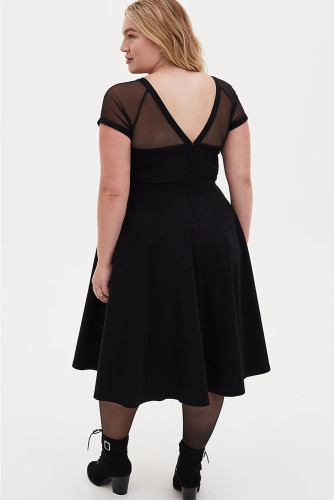 Black Mesh Crew Neck Short Sleeve High Waist Plus Size Midi Dress LC613441-2