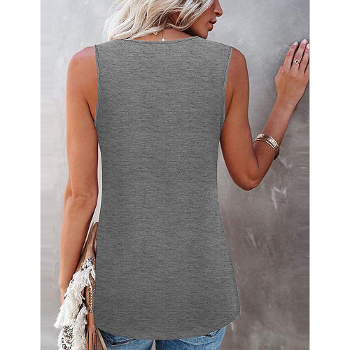 Light Gray Cotton Blend Lace Neck Tank Top TQK250133-25