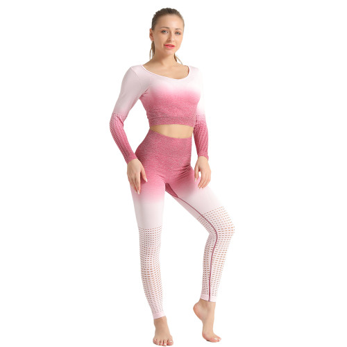 Rosy Hollow Out Long Sleeve 2pcs Yoga Set TQE87171-6