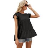 Black Loose Style Ruffled Babydoll Top TQK210687-2