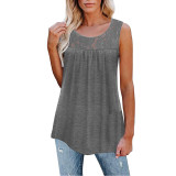 Light Gray Cotton Blend Lace Neck Tank Top TQK250133-25