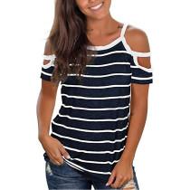 Navy Blue Stripes Cold Shoulder T-shirt TQK210686-34