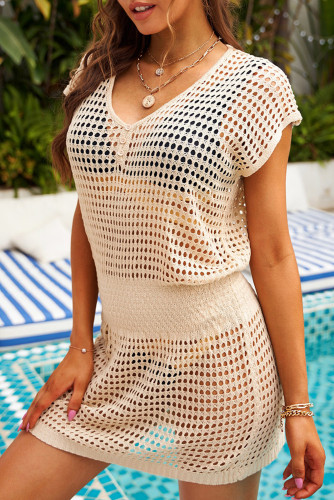 Apricot Hollow-out Fishnet Tunic Beach Dress LC42951-18
