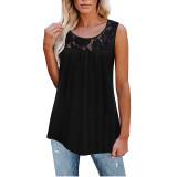 Black Cotton Blend Lace Neck Tank Top TQK250133-2