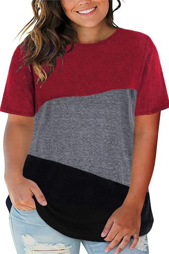 Red Plus Size Crew Neck Colorblock Tee LC2512806-3