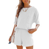 White Pocket Tops with Shorts Cotton Loungewear Set TQK710322-1